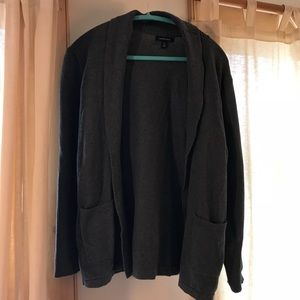 Lands End Charcoal open front cardigan w/ pockets